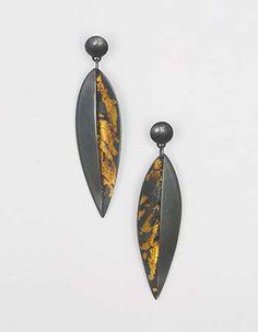 "Marcia Meyers: , Keum-bu earrings in sterling silver and 23k gold. 1.75 x 0.5"""