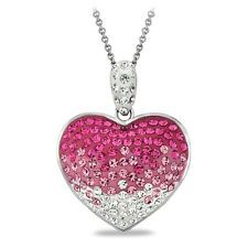 Fuchsia Crystal Ombre Heart Necklace, Made with Swarovski Elements
