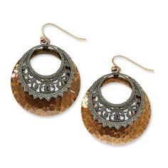 Copper-Tone & Black-Plated Dangle Earrings