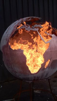 "Fire Sphere Sculptural Fire Pit ''Earth"" Design by Craftsmen in Metal J.W & A.J Barrett Ltd. on Etsy, $2,505.18"
