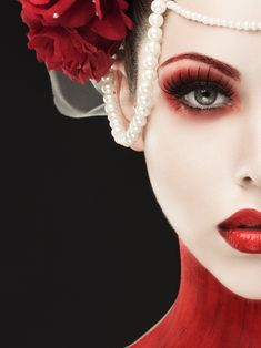 Rebecca Saray - Dark Fantasy - Fashion - Gothic - Couture - Regal - Queen - Red Dress - Alice In Wonderland - Queen Of Hearts - Makeup