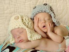 Newborn Twin Natural Gray Aviator Bomber Hats Set