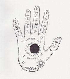 ☽under your spell ☾ Grunge Tattoo, Soft Grunge, Symbol Hand, Illustrations, Illustration Art, Art Et Design, Under Your Spell, My Sun And Stars, Palmistry