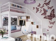 Purple girl room with loft bed and wall deco in butterfly stickers Source by amelonn Small Room Bedroom, Bedroom Loft, Dream Bedroom, Girls Bedroom, Bedroom Decor, Bedrooms, My New Room, My Room, Girl Room