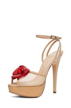 CHARLOTTE OLYMPIA  Florentina Mesh Sandal in Nude #HarpersBAZAAR #SpringStyle