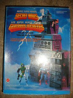 mattel 1984 MARVEL heros guerre secrete secret wars tower of DOOM MIB Marvel Secret Wars, Toys R Us, Sweet Memories, Statues, Action Figures, Nostalgia, Childhood, Tower, Cartoon
