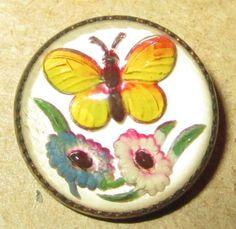 Antique Design Under Glass DUG Essex Crystal Button - BUTTERFLY & FLOWERS