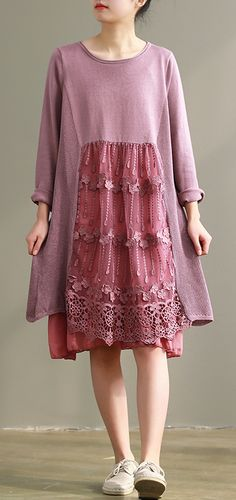 5b8ae34d2e96 100% pink Cotton dress Plus Size Runway o neck patchwork lace Plus Size  Dress Spring