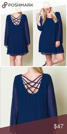 💋PLUS-Crisscross  Blue Dress💋 12/11/16 HOST PICK💖💖!!  100% Polyester Dresses Long Sleeve