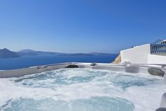 The Concept: Private sanctuary At the entrance to Oia village in the northern most village of Santorini, the villa welcomes guests to a world of exqui. Santorini Villas, Santorini Island, Oia Greece, White Elegance, Luxury Villa, Jacuzzi, Entrance, World, Outdoor