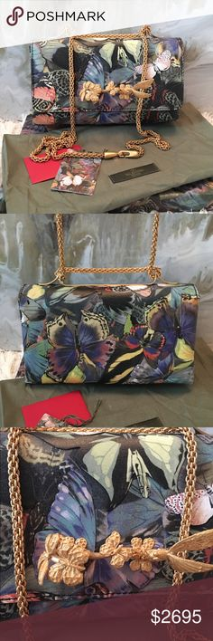 $2895 Valentino Camu Butterfly Va Va Voom Flap Bag Amazing authentic Valentino Camu Butterfly Va Va Voom Flap Bag.  Butterfly gold tone Knuckle design at front with coated canvas laser cut butterfly design. This is new, still has plastic inside. Minor wear on corners from storing nothing even noteworthy. Comes with box, dust bag & tags. Retails $2895 Valentino Garavani Bags Shoulder Bags