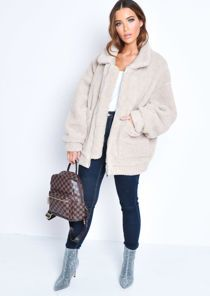 TAORE Plus Size Women Hooded Jacket Cotton Linen Fluffy Fur Zipper Coat
