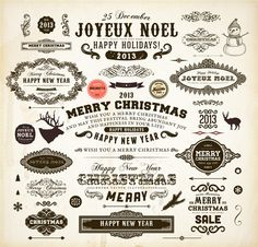 Retro Christmas labels desing vector 01