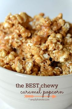 Ooey, gooey, and CHEWY is the best kind of caramel popcorn, and this is the best recipe around! It's super easy, takes and takes less than 10 minutes to make. Perfection. #simplykierste #caramelpopcorn #dessert