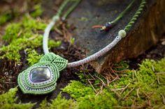 Forest goddess macrame necklace with natural jasper by gimacrame