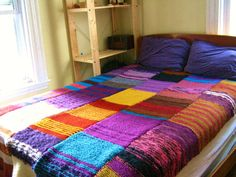 Hand Knit Afghan, Patchwork Afghan, RESERVED for mkabza, Custom order, scrappy chic, scrap-ghan, knitted blanket