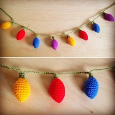 Crochet Christmas Lights/garland. Electricity not needed  Lovely Christmas Decoration or for the Stranger Things fan in your life! (Theres a lot of us ) The garland is 45in/112cm  This is made to order, please allow 4 days. Thank you