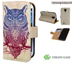 """Artist Designed Samsung Galaxy S4 flip case / cover - Colorful & unique leather style flip case """"Warrior Owl"""" tribal owl tattoo s4 case"""