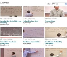 Elementary Probability and Statistics Course from UCLA.          http://www.academicearth.org/courses/math-and-proability-for-life-sciences