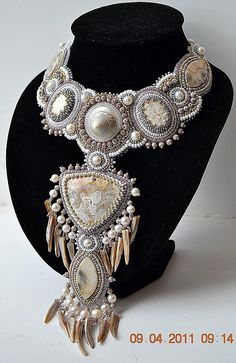 Beautiful embroidered jewelry by Nataly Uhrin (part 4) Click on link to see more photos - http://beadsmagic.com/?p=5577