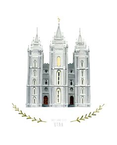 Salt+Lake+City+Utah+LDS+Temple+Illustration++8x10+by+HeatherMettra,+$20.00