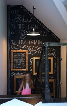 a chalk board wall of prayer- with frames to separate each family members prayers- LOVE THIS! Teaches importance of prayer, helps family members know how to pray for each other, teaches faith in God answering prayer! ( Teach them when they are young & when they are old they will not depart from it! Proverbs 22:6) More