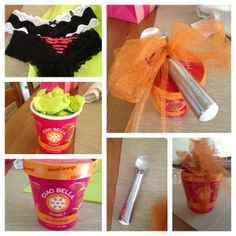 Bridal Shower gift idea. Pack lingerie into an empty sorbet or ice cream tub. Wrap with ice cream scoop on top!