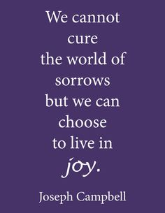 We cannot cure the world of sorrows but we can choose to live in joy. - Joseph Campbell