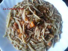 Soupe de petits spaghettis aux lentilles Spaghetti, Japchae, Or, Ethnic Recipes, Inspiration, Cream Soups, Italian Cuisine, Lentils, Conch