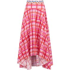 Peter Pilotto Checked Cotton Midi Skirt - Size 10 ($945) ❤ liked on Polyvore featuring skirts, peter pilotto, cotton knee length skirt, draped midi skirt, calf length skirts and cotton skirts