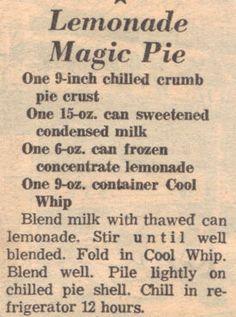 Lemonade Magic #Pie recipe - old favorite - only 4 ingredients!