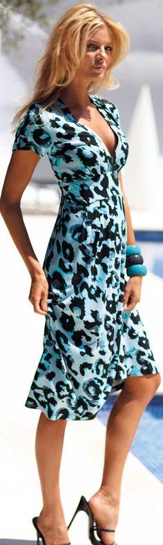Lovely blue print dress, Madeleine.