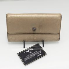 CHANEL CC Button TriFold Long Wallet Champagne Gold $275