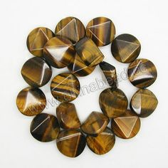 Gemstone Beads, Brown Tigereye, Faceted disc, Approx 20x8mm, Hole: Approx 1.5mm, 20 pcs per strand, Sold by strands