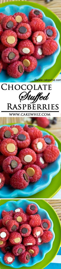 These easy CHOCOLATE STUFFED RASPBERRIES are a healthy and delicious snack that even kids approve! From cakewhiz.com
