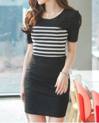 $7.94 Ladylike Scoop Neck Stripe Puff Sleeve Bodycon Dress For Women