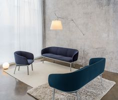 Grace - minimalistyczny zestaw mebli miękkich: sofa, fotel, stolik | MDD Banquettes, Soft Seating, Eames, Armchair, Dining Chairs, Lounge, Sofa, Furniture, Home Decor