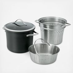 Calphalon's adaptable multi-pot with two perforated stainless-steel inserts makes short work of cooking and draining everything from sauce to soup, pasta to potatoes, and corn-on-the-cob to crustaceans. Constructed of heavy-gauge, hard-anodized aluminum for ultra durability and even heating, the multi-layer nonstick interior is an added bonus for speedy cleanup. Includes:  8 qt. stockpot  Tempered glass lid Pasta insert Steamer insert Features:  Dishwasher safe  Durable, cast stainless…