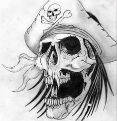 Grey Ink Design Pirate Skull Tattoo Design