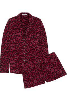 Equipment Lilian heart-print washed-silk pajama set