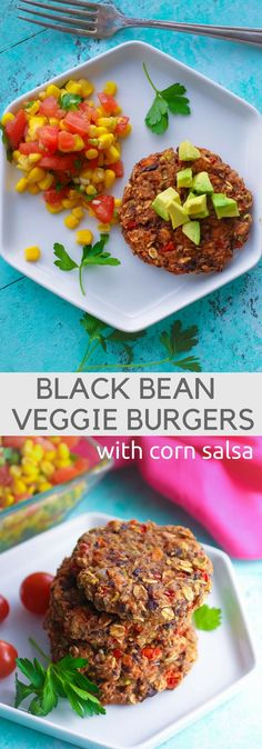 Whether you want a meatless meal or not, Black Bean Veggie Burgers with Corn Salsa are delicious! You'll enjoy Black Bean Veggie Burgers with Corn Salsa. Burger Recipes, Veggie Recipes, Lunch Recipes, Mexican Food Recipes, Whole Food Recipes, Great Recipes, Vegetarian Recipes, Healthy Recipes, Veggie Meals
