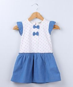 Another great find on #zulily! Blue Polka Dot Bow Angel-Sleeve Dress - Infant, Toddler & Girls #zulilyfinds