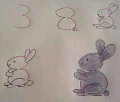 Learn to draw the children. The greatest drawings that start with numbers … - Painting & Drawing Art Drawings For Kids, Love Drawings, Drawing For Kids, Animal Drawings, Easy Drawings, Drawing Sketches, Art For Kids, Bunny Drawing, Drawing Ideas