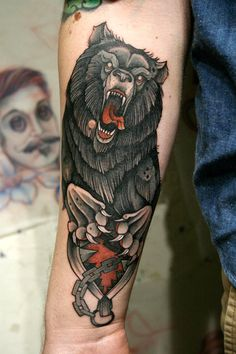Done by Mitch Allenden. Definitely not your run-of-the-mill bear tattoo. #tattoo #scary #bear