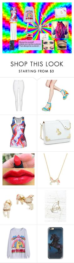 """""""Unicorns & Rainbows"""" by chardonnay101 ❤ liked on Polyvore featuring Topshop, Valentino, Kate Spade, Urban Outfitters and Casetify"""