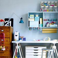 Add a pop of colour | Home office storage ideas - 10 best | housetohome.co.uk  floating shelves, Ikea Alex underneath