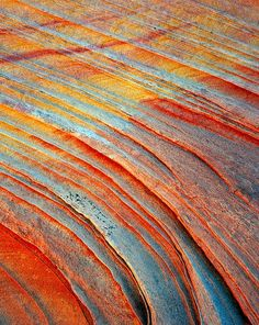Sandstone Rainbow (the reds and yellows come from oxidized iron, the blue comes from reduced iron) / Vermillion Cliffs Wilderness, Arizona