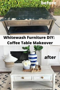 whitewash furniture diy: coffee table makeover Whitewash Furniture, Diy Home Furniture, Diy Furniture Projects, Furniture Makeover, Painted Furniture, Diy Projects, Coffee And End Tables, Diy Coffee Table, Diy Table