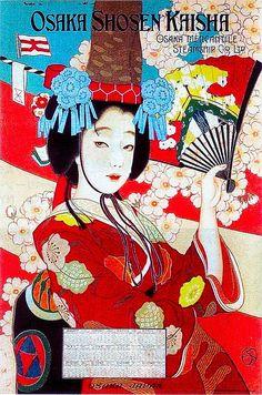 Title: Osaka Shosen Kaisha = Osaka Mercantile Steamship Co. [Woman in red kimono] Description: Osaka Mercantile Steamship Co. A woman in red kimono holding a fan. Retro Poster, Vintage Travel Posters, Vintage Ads, Poster Poster, Illustration Art Nouveau, Character Illustration, Japanese Poster, Japanese Prints, Art Asiatique