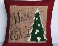 Two red linen 20x20 Snowflake Christmas by ThatDutchGirlPillows